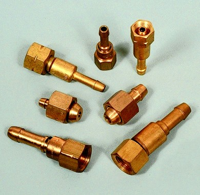 Click to enlarge - Hose fittings for oxygen and acetylene welding-cutting equipment. Made from machined brass bar and fitted using O clips or similar.